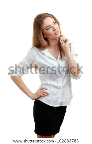 portrait of attractive woman think looking to the side thoughtful - stock photo