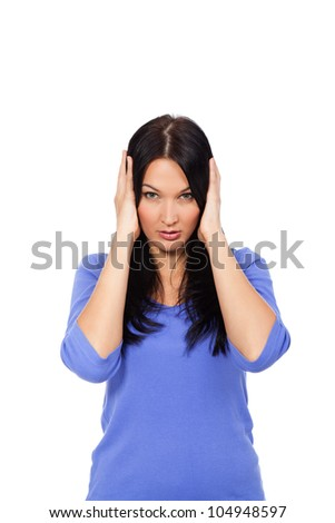 portrait of attractive woman with hands on ears, girl cover ear looking at camera isolated over white background - stock photo