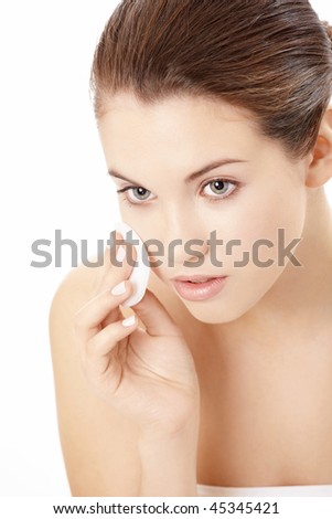 Portrait of attractive woman with the well-groomed face skin, isolated - stock photo