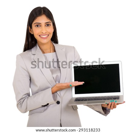 portrait of attractive young business woman presenting laptop computer - stock photo
