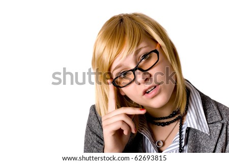 portrait of attractive young businesswoman isolated on white background - stock photo