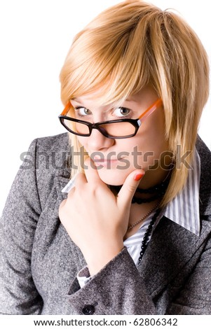 portrait of attractive young businesswoman on white background - stock photo