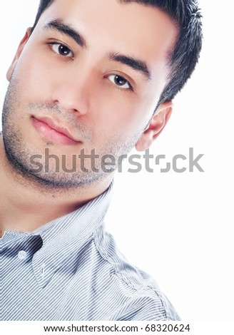 Portrait of attractive young men, isolated on white - stock photo