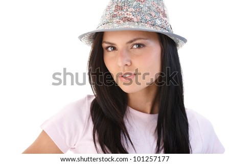Portrait of attractive young woman, looking at camera. - stock photo