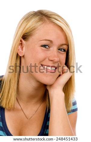 Portrait Of Attractive Young Woman On White Background - stock photo