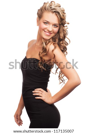 Portrait of  attractive young woman with long blond hair and beautiful stylish hairstyle. Isolated on white background - stock photo