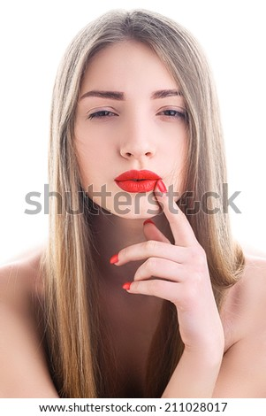 Portrait of attractive young woman with red lipstick - stock photo