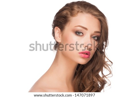 Portrait of attractive young woman with stylish makeup and curly hairstyle. Isolated on white background - stock photo