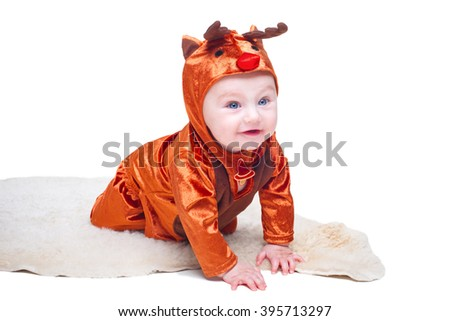 Portrait of baby boy dressed as Christmas little deer, isolated on white background - stock photo