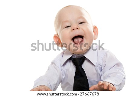 Portrait of baby boy wearing shirt and tie enjoying himself over white background - stock photo