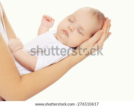 Portrait of baby sweet sleeping on hands mother - stock photo