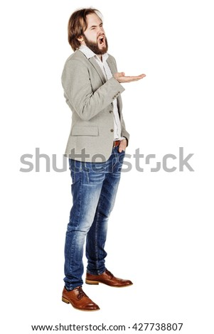 portrait of bearded business man yawning stretching arms. emotions, facial expressions, feelings, body language, signs. image on a white studio background. - stock photo