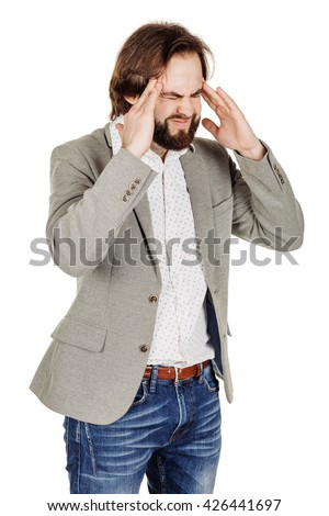 portrait of bearded businessman standing with headache.  human emotion expression and office, business, technology, finances and internet concept. image isolated white background. - stock photo