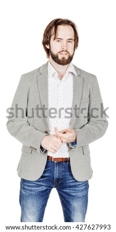 portrait of bearded man  standing and looking at camera. human emotion expression and lifestyle concept. image on a white studio background. - stock photo