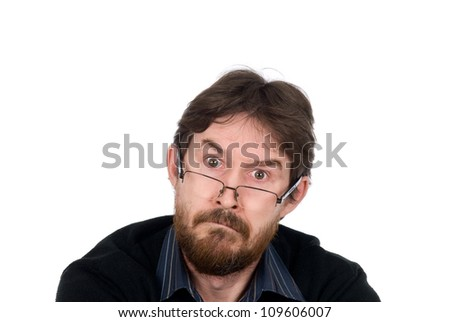 Portrait of bearded man wearing spectacles about amazement looking in chamber.Isolated on a white background - stock photo