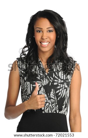 Portrait of beautiful African American businesswoman showing thumbs up isolated over white background - stock photo