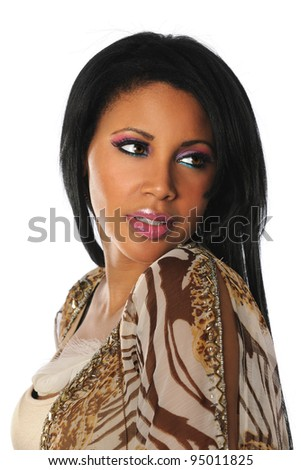 Portrait of beautiful African American woman isolated over white background - stock photo