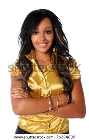 Portrait of beautiful African American woman smiling with arms crossed isolated over white background - stock photo