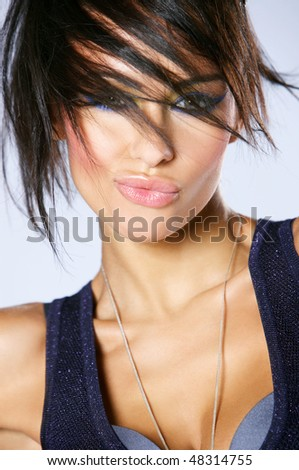 Portrait of beautiful and sexy fashion woman - stock photo
