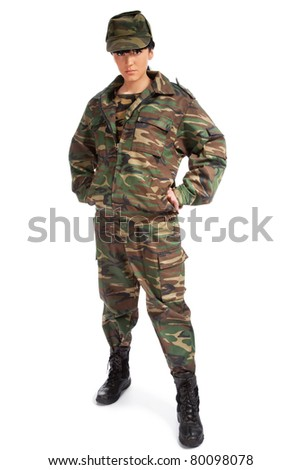 Portrait of beautiful army girl isolated background - stock photo