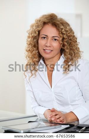 Portrait of beautiful blond businesswoman - stock photo