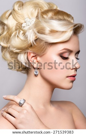 Portrait of beautiful bride. Hairstyle. - stock photo