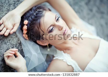 Portrait of beautiful bride. Wedding dress. - stock photo