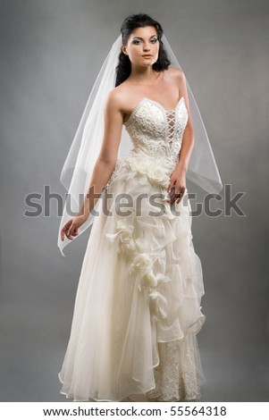 portrait of beautiful bride with veil studio shot - stock photo