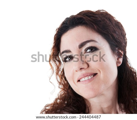 Portrait of beautiful brunette woman smiling. Isolated on white background. Studio shot. - stock photo