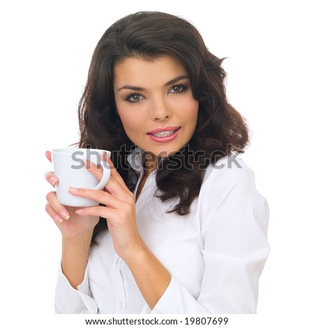Portrait of beautiful business woman holding coffee cup - stock photo