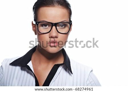 Portrait of beautiful business woman wearing glasses - stock photo