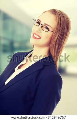 Portrait of beautiful caucasian business woman. Isolated on white. - stock photo