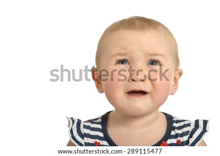 Portrait  of Beautiful cute crying  baby on a white background - stock photo