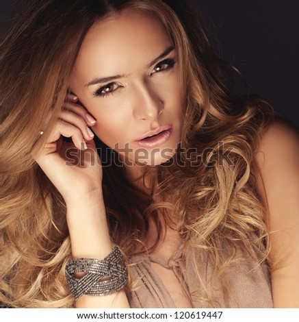 Portrait of beautiful delicate woman - stock photo