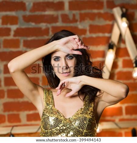 Portrait of beautiful fashion model - stock photo