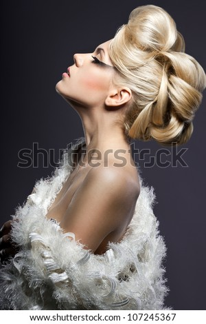 portrait of beautiful fashionable woman - stock photo