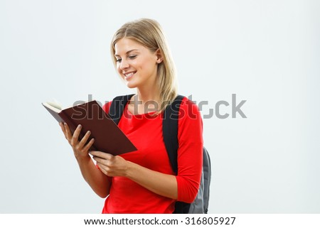 Portrait of  beautiful female student learning.Student learning - stock photo