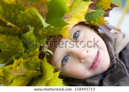 Portrait of beautiful four-year-old boy in a wreath from autumn leaves outdoors - stock photo