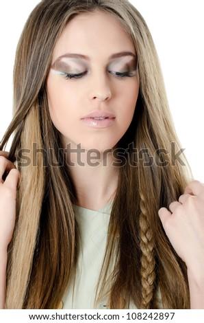 Portrait of beautiful girl - Creative make-up - stock photo