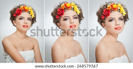 Portrait of beautiful girl in studio with yellow and red roses in her hair and naked shoulders. Sexy young woman with professional makeup and bright flowers. Creative hairstyle and makeup, studio shot - stock photo