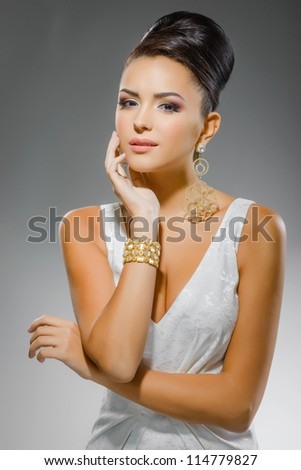 portrait of beautiful girl in wedding dress - stock photo
