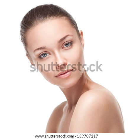 Portrait of beautiful girl isolated on white background - stock photo