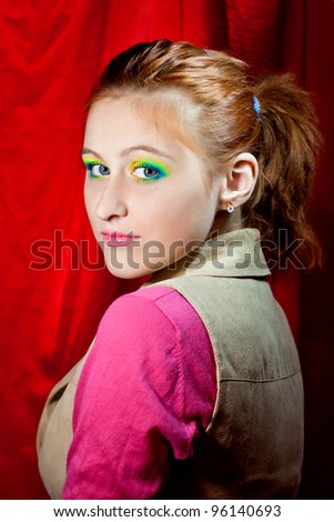 Portrait of beautiful girl model with bright makeup - stock photo