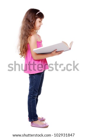 Portrait of beautiful girl reading a big book over white background - stock photo