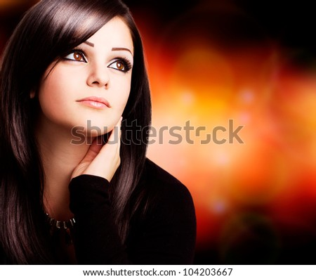 portrait of beautiful girl with copy-space - stock photo