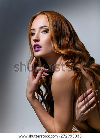 portrait of beautiful girl with long red hair - stock photo