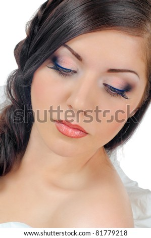 portrait of beautiful girl with plait on white - stock photo