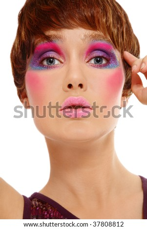 Portrait of beautiful girl with stylish haircut and crazy disco makeup - stock photo