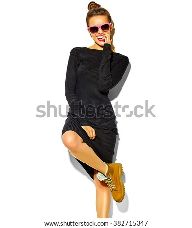 portrait of beautiful happy cute smiling brunette woman girl in casual black hipster summer clothes dress with red lips isolated on white - stock photo