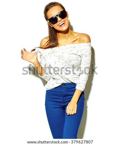 portrait of beautiful happy cute smiling brunette woman girl in casual blue hipster summer clothes with no makeup isolated on white sunglasses - stock photo